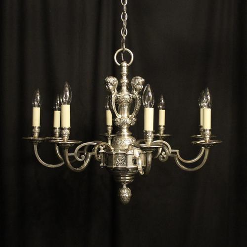 French Silver Gilded Cherub 8 Light Antique Chandelier (1 of 10)