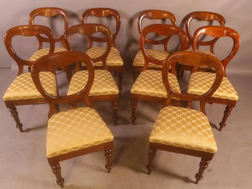 Set of 10 Victorian Mahogany Balloon Back Dining Chairs (1 of 12)