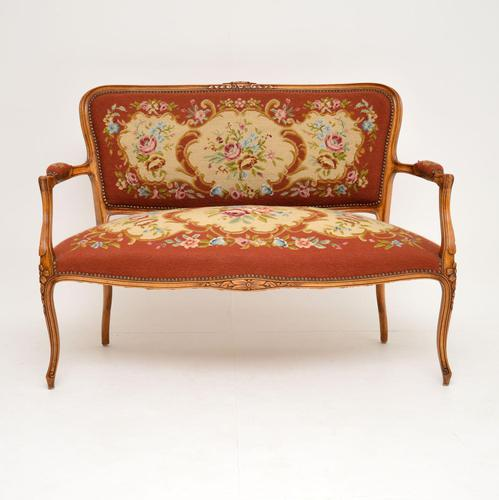 Antique French Needlepoint Salon Two Seater Sofa (1 of 12)