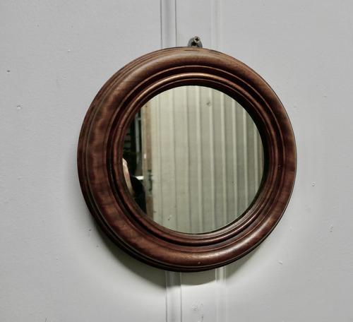 19th Century Small Round Mahogany Wall Mirror (1 of 4)