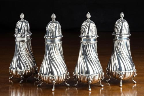 Set of 4 Late 19th Century Silver Sugar Dredgers (1 of 6)
