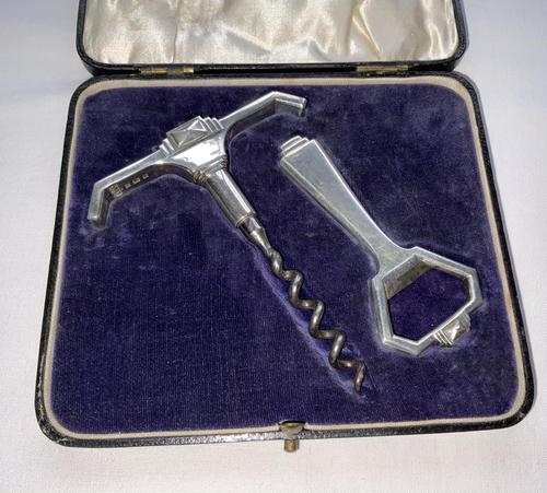 Art Deco Silver Corkscrew & Bottle Opener (1 of 7)