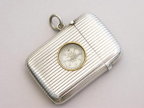 Victorian Silver Compass Vesta Case by Sampson Mordan, London 1900 (1 of 9)