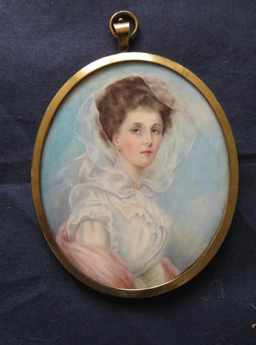 Wedding Day Miniature Portrait Edwardian Bride 1910 (1 of 5)