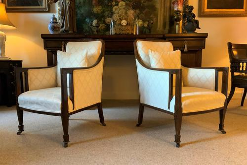 Exceptional Pair of Mahogany Inlaid Linen Silk Upholstered Bergere Armchairs (1 of 12)