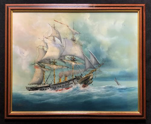 HMS Warrior Under Sail & Steam! - Original 20thc Seascape Oil On Canvas Painting (1 of 13)