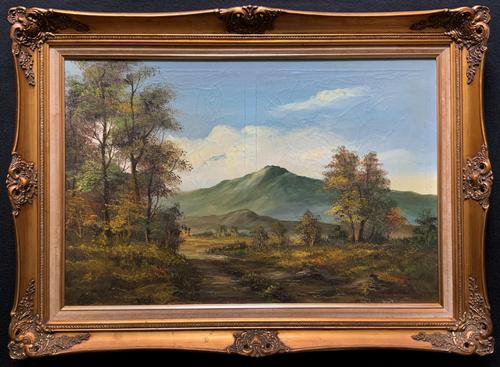Large Early 20th Century Antique English Autumn Countryside Landscape Oil Painting (1 of 11)