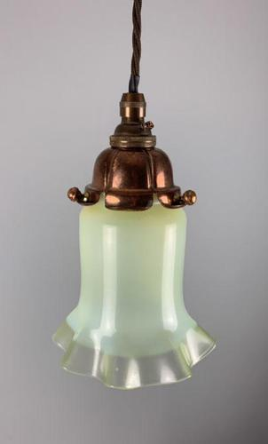 Original Vaseline Shade, Copper Ceiling Light, Rewired (1 of 10)
