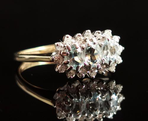 Vintage Aquamarine and Diamond Three Stone Cluster Ring, 9ct Gold (1 of 12)
