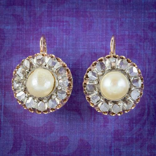 Antique Victorian Rose Cut Diamond Natural Pearl Earrings 3.60ct of Diamond 18ct Gold c.1880 (1 of 7)
