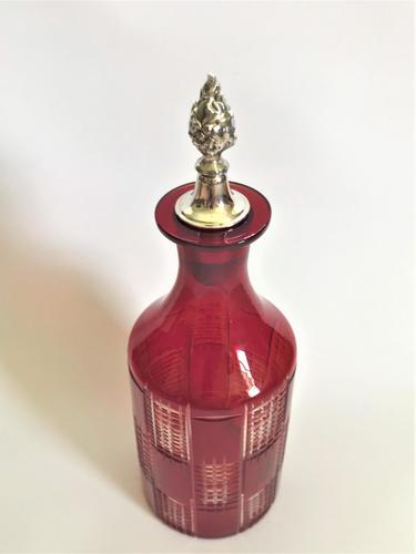 A Lovely Ruby Glass And Silver Plate Wine Bottle (1 of 5)