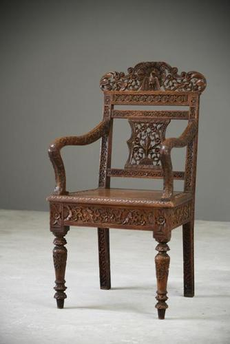 Anglo Indian Carved Padouk Chair (1 of 12)