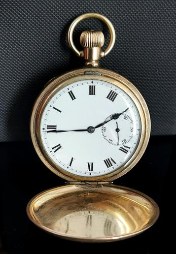Art Deco Gold Plated Full Hunter Pocket Watch (1 of 11)