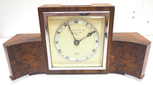 Perfect Burr Walnut Vintage Mantel Clock Art Deco Mantle Clock by Elliott of London (1 of 10)