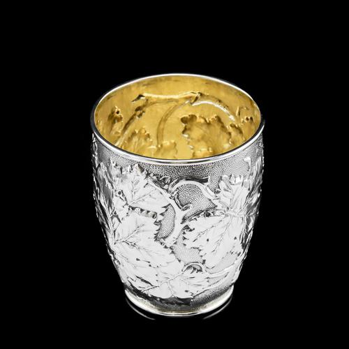 Antique Victorian Solid Silver Beaker / Cup with Superb Naturalistic Grapevine Design - Barnard 1871 (1 of 16)
