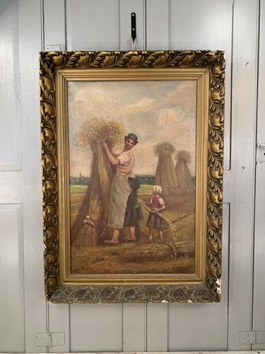 Antique French oil painting landscape harvest scene signed E Cornaud dated 1888 (1 of 10)