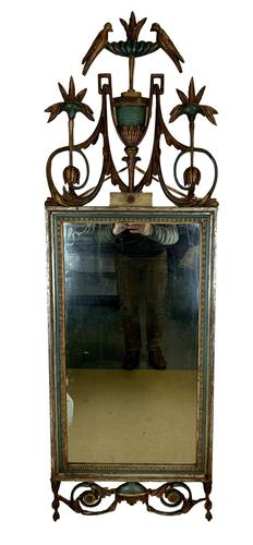 Beautiful Large Green & Gilt Wall Mirror (1 of 9)