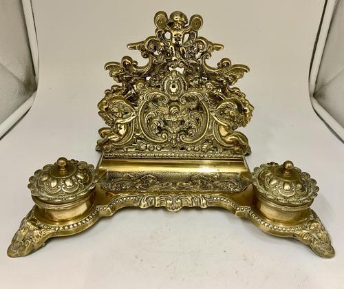 Antique Brass Desk Companion Inkwell Set c.1910 (1 of 8)