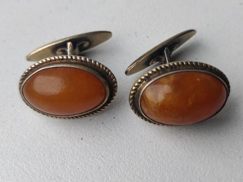 Vintage USSR Period Latvian 875 Gold Gilt Silver Cufflinks Amber Stone 1950s (1 of 6)
