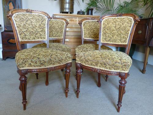 Set of Four Victorian Walnut Dining Chairs (1 of 6)