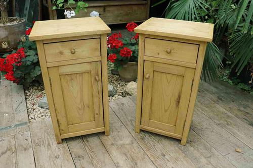 Nice Quality Old Stripped Pine Bedside Cabinets (1 of 9)