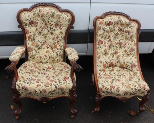 1859 Quality Beautiful Rosewood Mummy and Daddy Chair in Floral Upholstery (1 of 5)