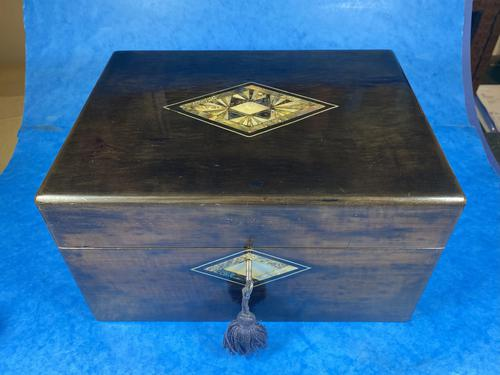 Victorian Ebonised Jewellery Box with Mother of Pearl & Abalone Inlay (1 of 18)
