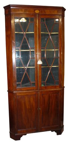 Inlaid Georgian Mahogany Corner Cabinet c.1790 (1 of 1)