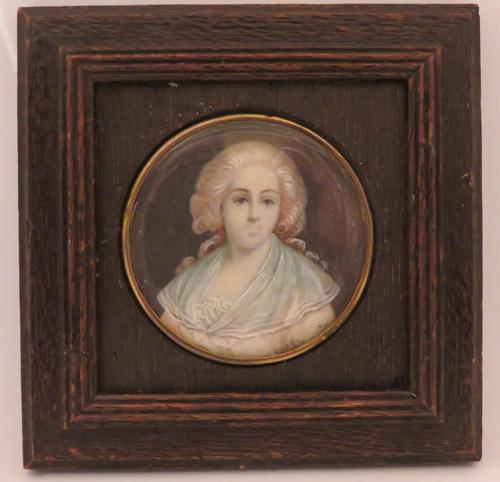 Miniature Portrait Lady of the Court 1 0f 2 Matching Oak Frames (1 of 3)