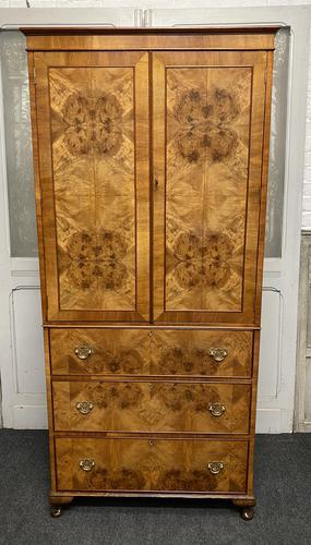 Burr Walnut Linen Press or Wardrobe (1 of 9)