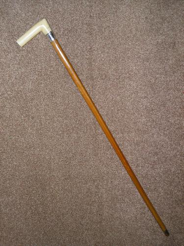 Antique Hallmarked 1923 Silver Walking Cane With Malacca Shaft 'LHB' (1 of 13)