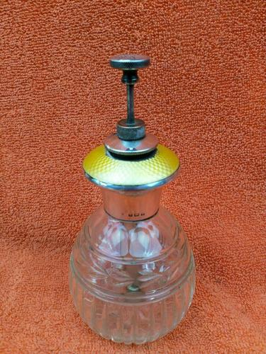 Antique Sterling Silver Hallmarked Yellow Guilloche Enamel Perfume Bottle 1925 Charles S Green & Co Ltd, Birmingham (1 of 8)