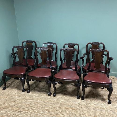 Set of 8 Edwardian Antique Walnut Dining Chairs (1 of 13)