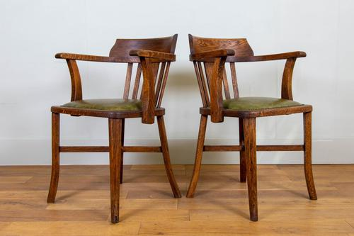 Vintage 1930s Oak Office Chair With Fresh Leather Seat x 2 (1 of 11)