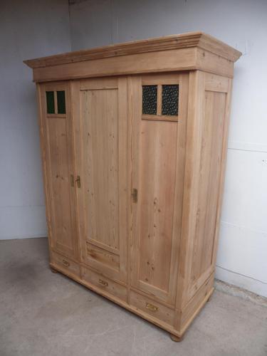Arts & Crafts Antique / Old Pine 3 Door Knockdown Wardrobe to wax / paint (1 of 9)