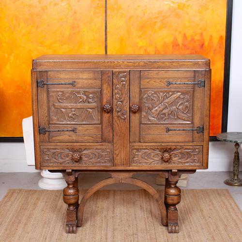 Carved Oak Sideboard Cupboard (1 of 13)