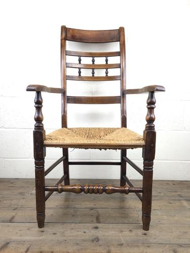 Antique Elm Spindle Back Armchair with Rush Seat (1 of 10)