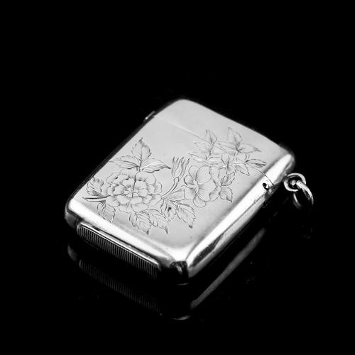 Antique Victorian Solid Silver Vesta Case Aesthetic Style Engravings - Joseph Whitten 1885 (1 of 9)