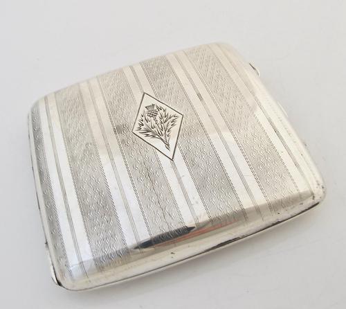 Handsome George V silver cigarette case Joseph Gloster Birmingham 1924 (1 of 12)