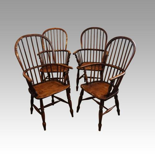 Set of 4 Antique Stick Back Armchairs (1 of 7)