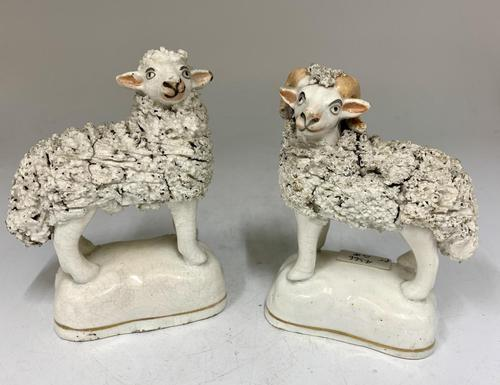 Antique Pair of Staffordshire Pottery Sheep c.1830 (1 of 7)