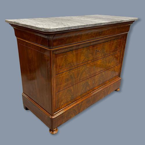 Exceptional French Marble Top Mahogany Inlaid Commode (1 of 12)
