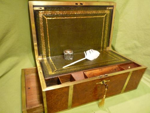 Exceptional FULLY Brass Bound Amboyna Writing Box c.1850 (1 of 15)