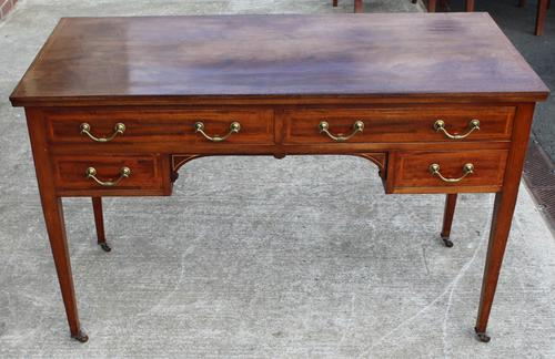1920s Mahogany Desk with Inlay and 4 Drawers (1 of 3)