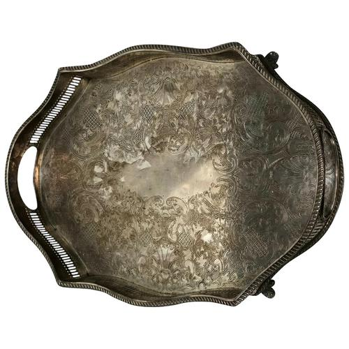 Antique Victorian Serpentine English Silver Plate Acanthus Salver Tray (1 of 13)