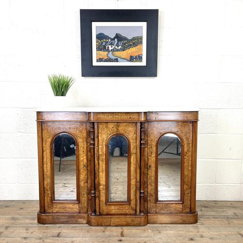 Victorian Inlaid Walnut Credenza with Marble Top (1 of 10)