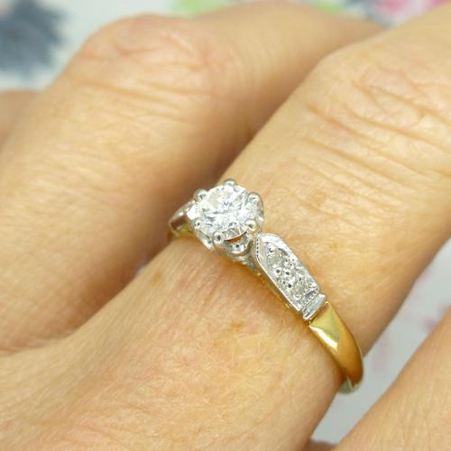 Art Deco 18ct Platinum Diamond Solitaire Engagement Ring 0.35ct (1 of 10)