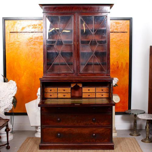 Tall Antique Secretaire Bureau Bookcase Astragal Glazed Mahogany Library Cabinet (1 of 13)