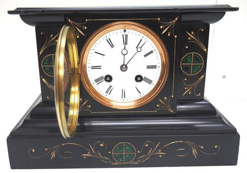 Very Fine French Slate & Marble Mantel Clock Classic 8 Day Striking Mantle Clock (1 of 13)