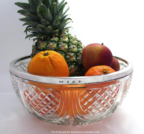 Edwardian 1905 Solid Sterling Silver Mounted Cut Glass Large Fruit Bowl Dish English Antique (1 of 7)